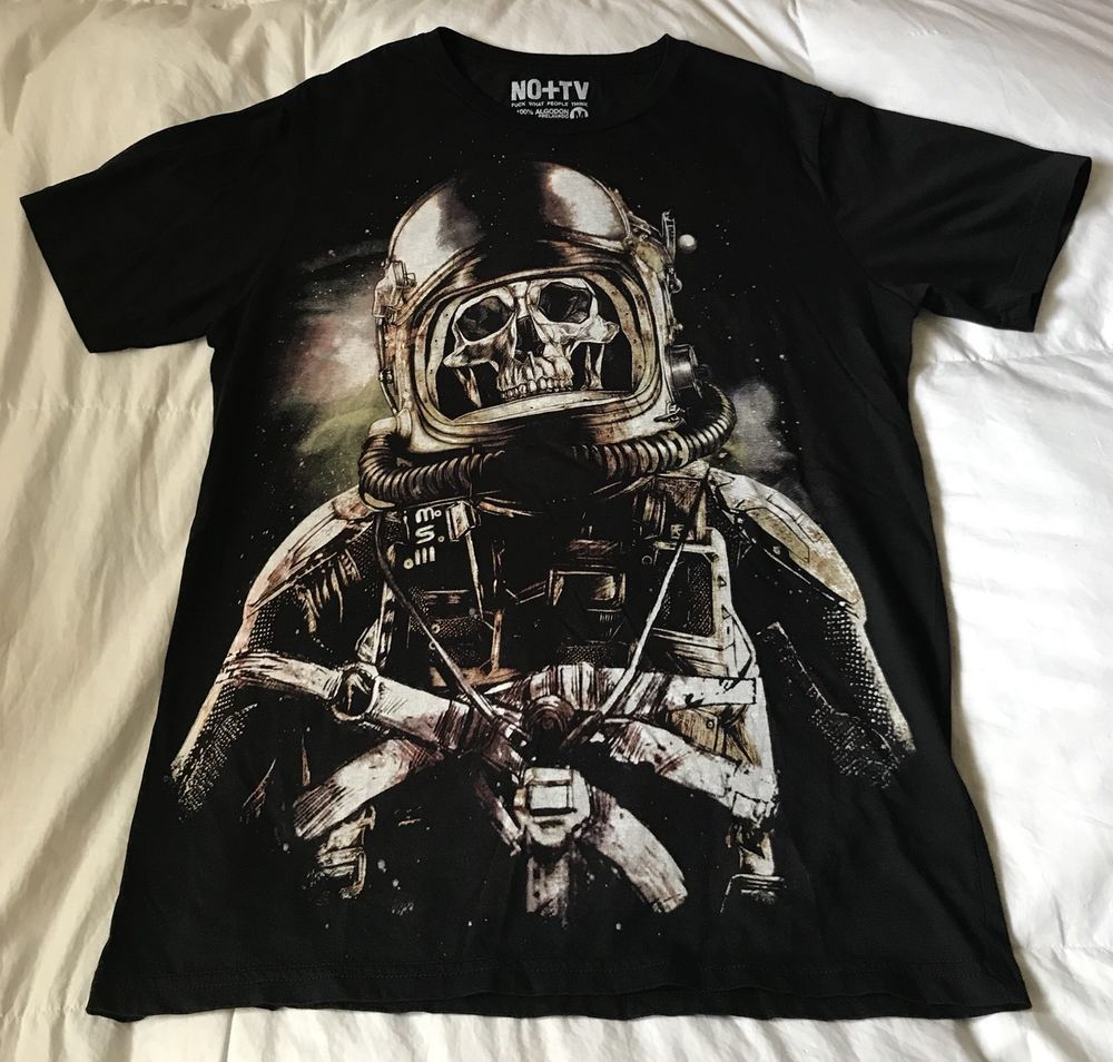 29f839f38 SKULL IN SPACESUIT Black T-shirt - 100% prewash Cotton - Sz M - Made in  Peru #NOTV #BasicTee