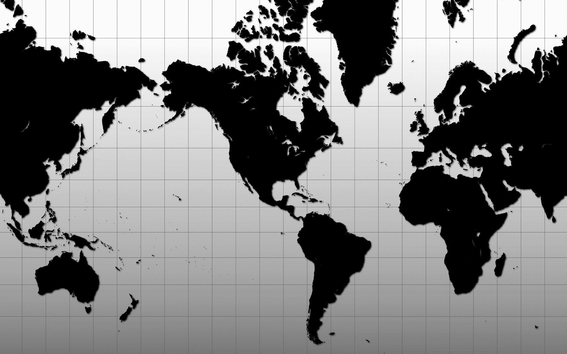 world map black white