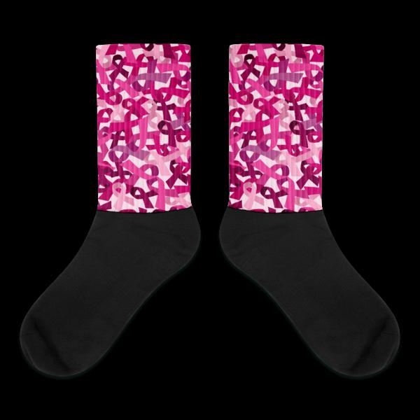 Pink Ribbon Camouflage Black Foot Socks
