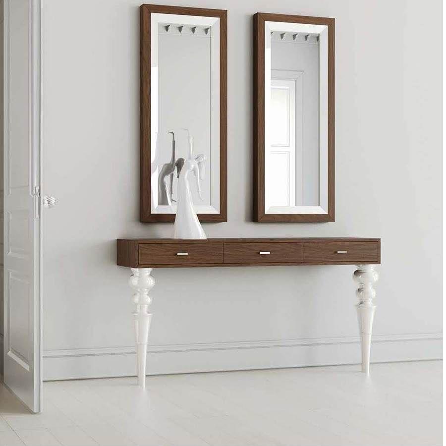 Consola de patas torneadas blancas y tablero color madera - Consolas clasicas ...