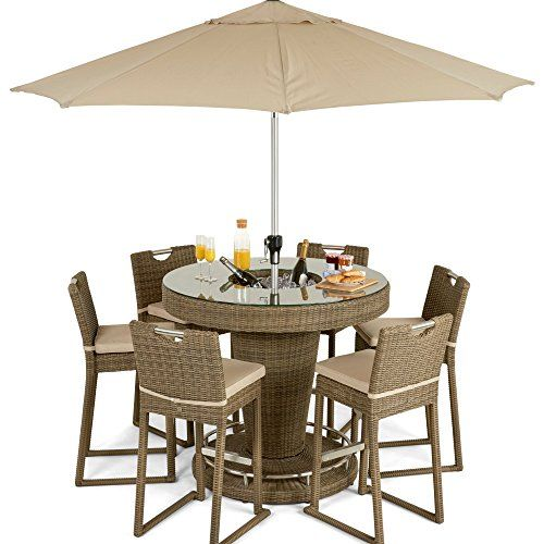 dorset rattan garden furniture 6 seater bar set with ice bucket