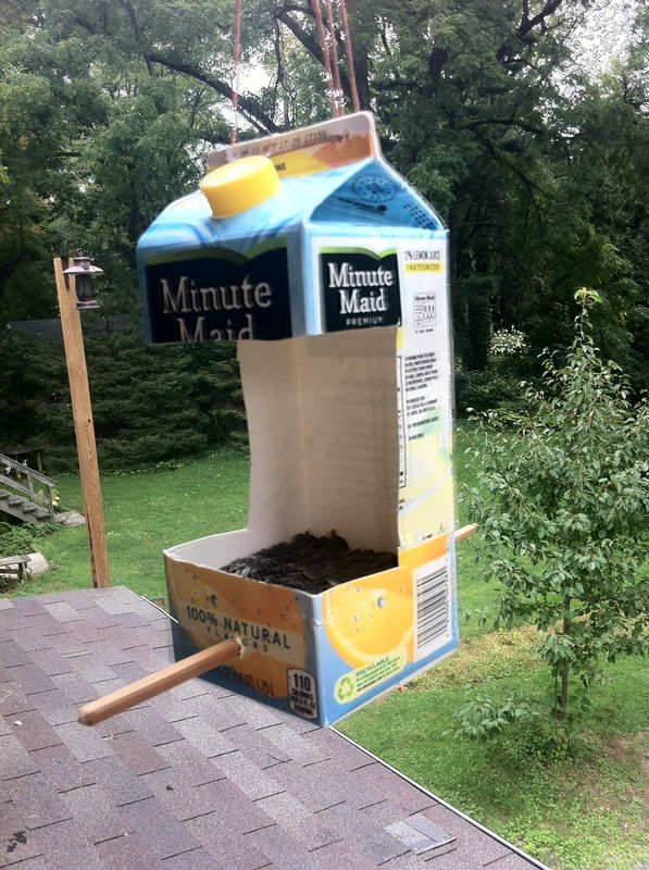 Homemade bird feeder recycled diy pinterest for Making a bird feeder out of recycled materials