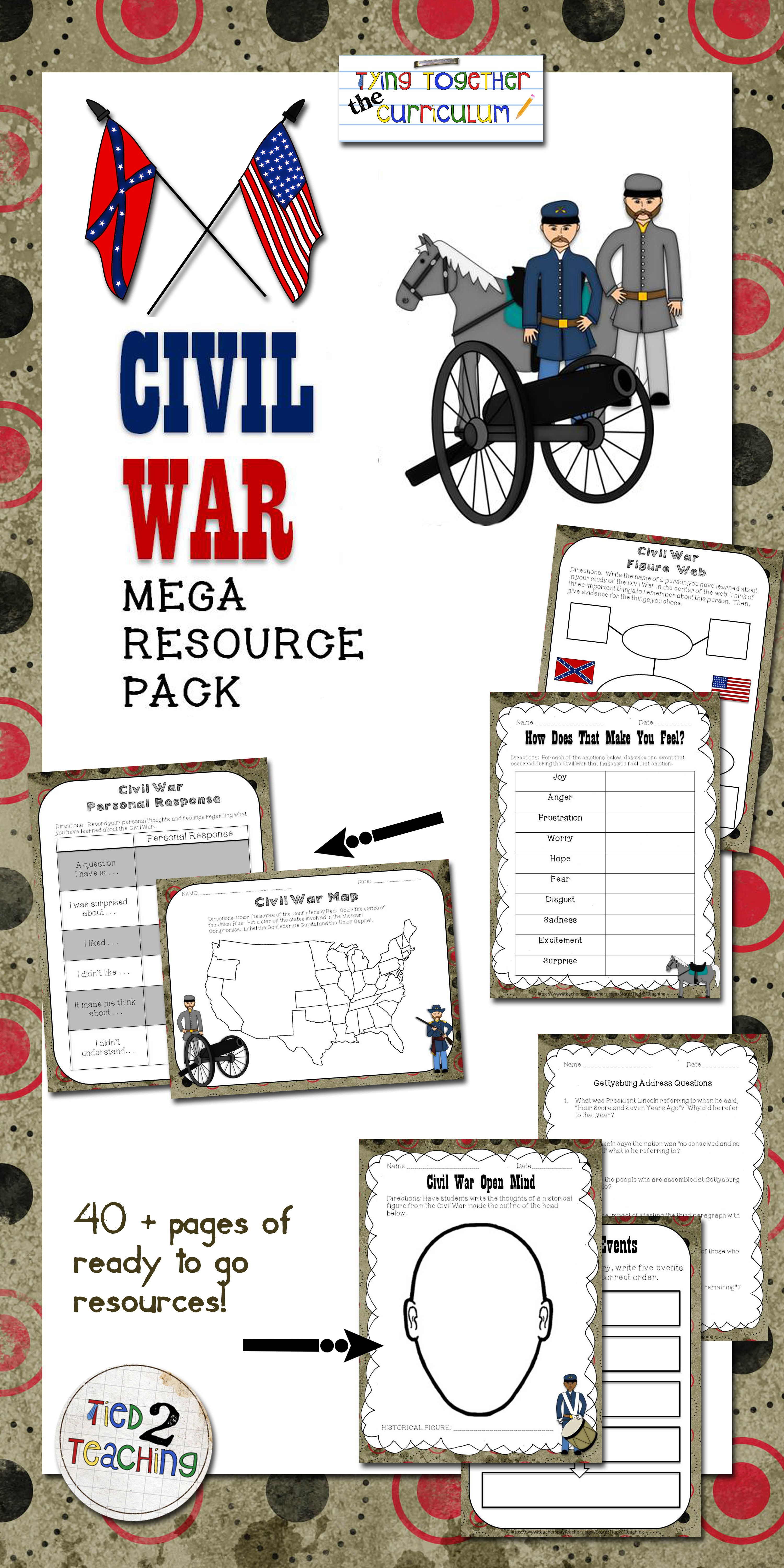 Civil War Unit Activities Printables Graphic Organizers
