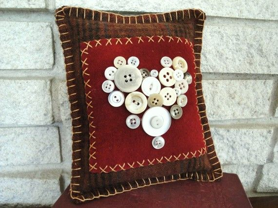 valentines throw pillows quilted | Wool Heart Mini Pillow Sienna Brown by rusticpatriotgirl on Etsy