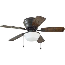 Litex Mooreland 44-In Bronze Indoor/Outdoor Flush Mount Ceiling Fan With Light Kit Wh44osb5c1s