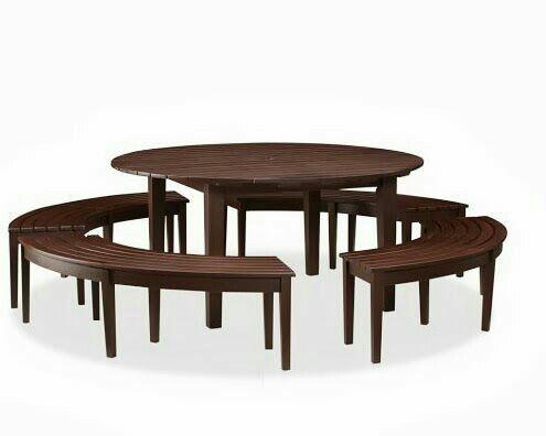 Mesa Para Terraza Redonda Con Sus Bancas Para 14 Personas