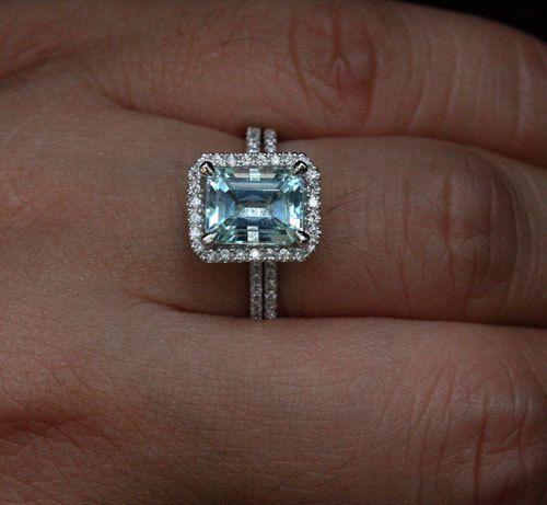 Emerald Cut Aquamarine Ring Bridal Ring Set In 14k White Gold With  Aquamarine Emerald Cut 9x7mm And Diamonds