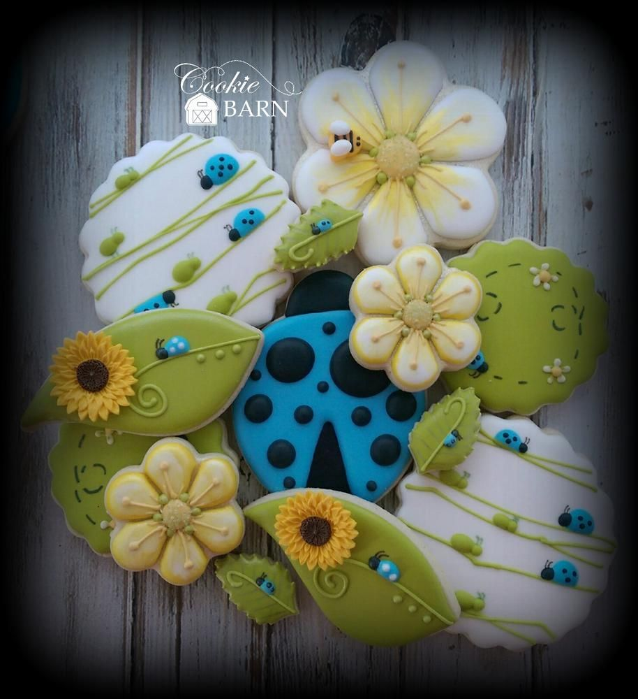 Ladybug Flower Summer Decorated Cookies | Cookie Connection