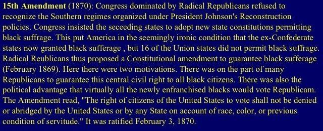 th amendment reconstruction th amendment 15th amendment