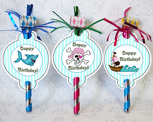 Printable Pirate Party Pink Blower Tags Parties And Patterns Homemade Party Favors Party Blowers Pirate Party