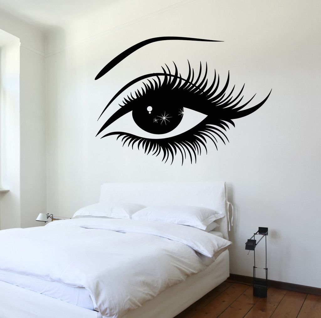 Sleepy Eyes Baby Nursery Wall Stickers Home Decor Eyelash Party Supplies
