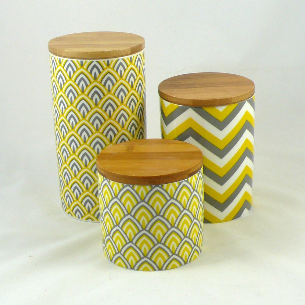 Set Of 3 Modern Retro Ceramic Canisters Kitchen Chevron Yellow Grey Geometric Modern Retro