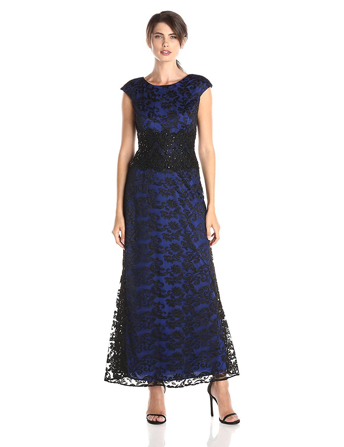 Alex Evenings Women's Cap Sleeve Embroidered Gown with Waist Detail >>> Check out the image by visiting the link. (This is an affiliate link and I receive a commission for the sales)