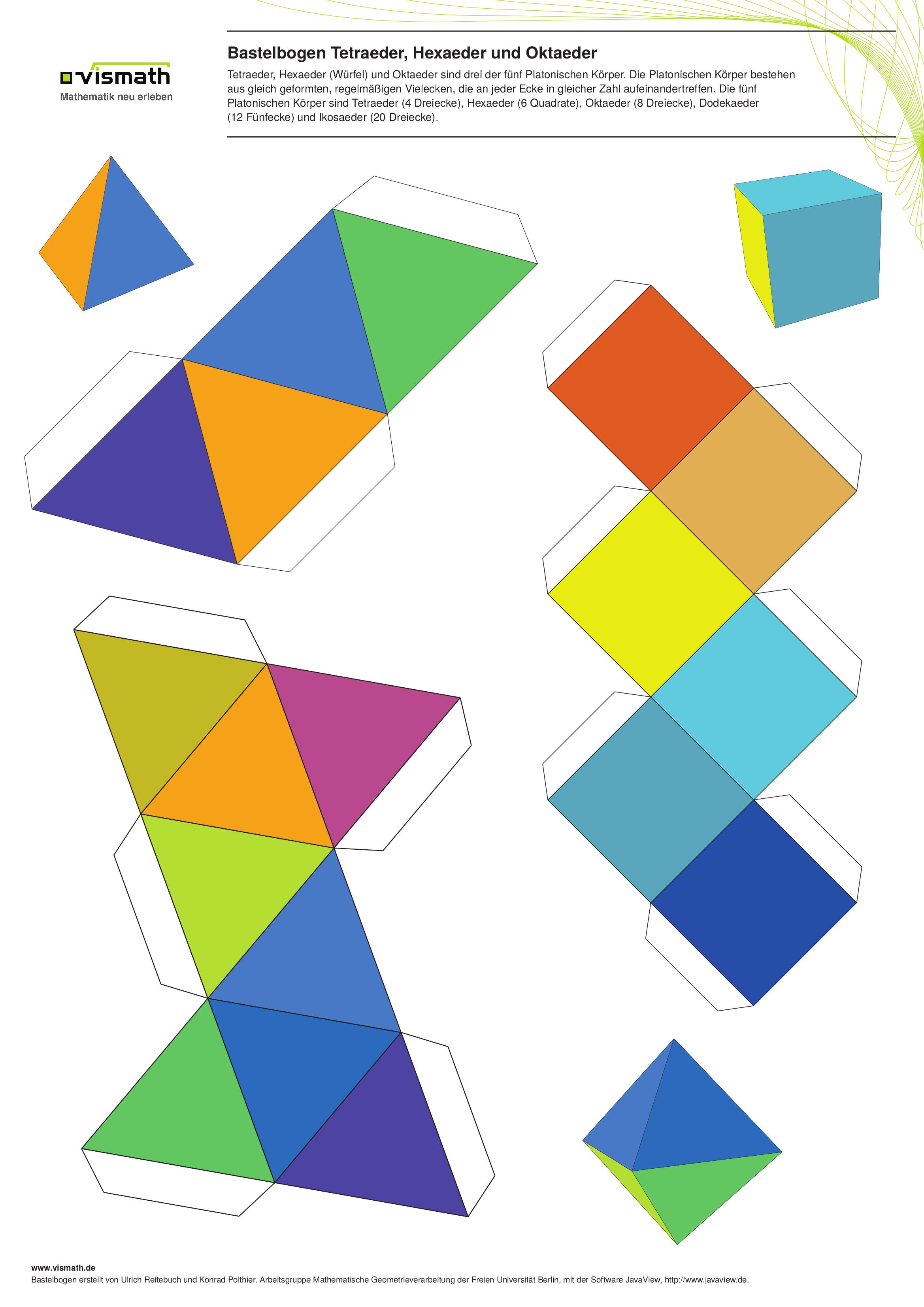 bastelbogen f r tetraeder oktaeder und w rfel papier basteln w rfel basteln und bogen. Black Bedroom Furniture Sets. Home Design Ideas