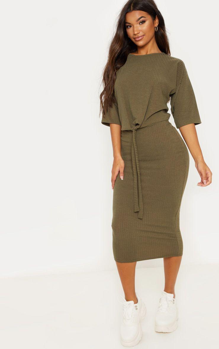 a14c87fc8b3f Khaki Rib High Waisted Midi SkirtMidi skirts are the perfect addition to  your autumn wardrobe dol.