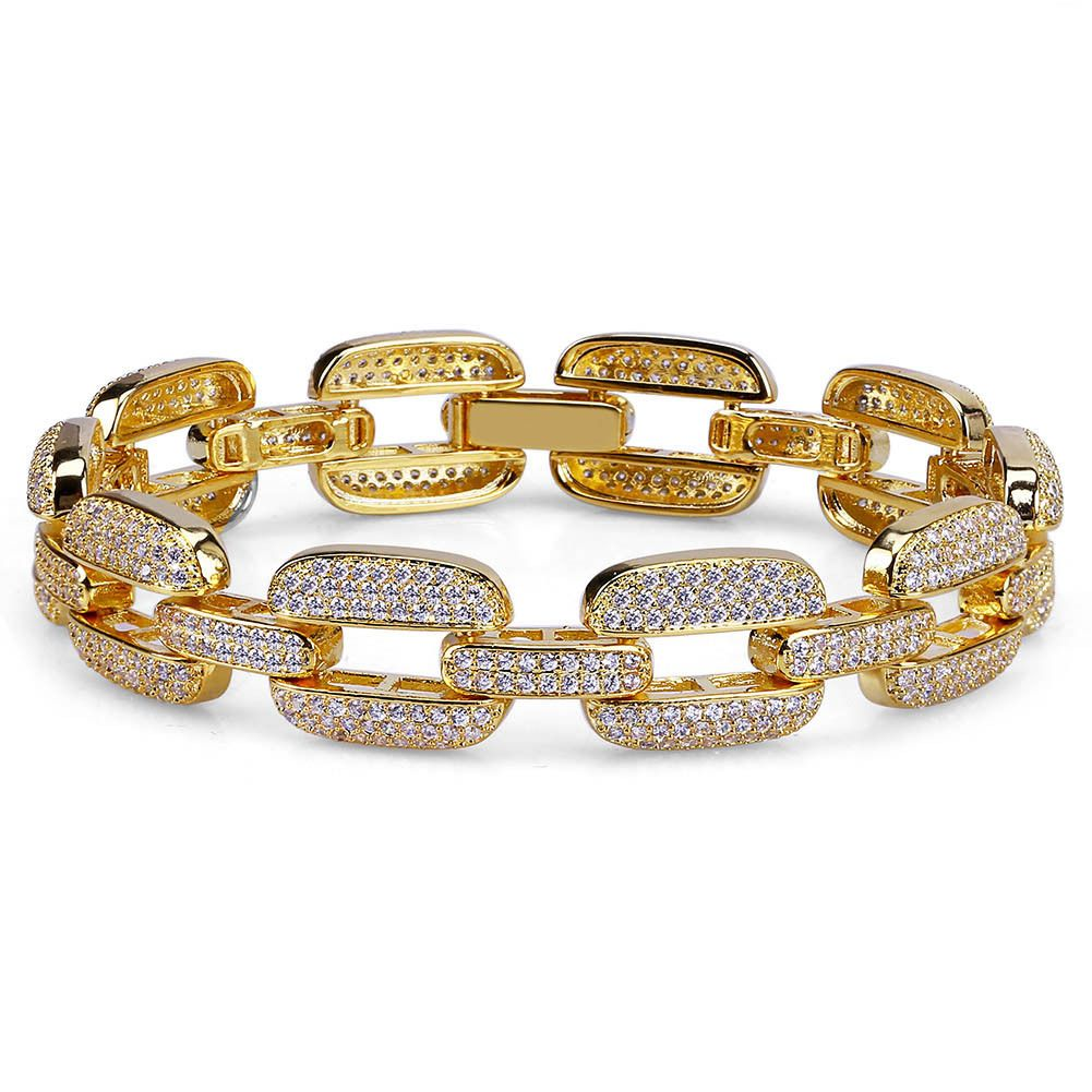 d18486be41f32 2019 的 18K Real Gold Plated Zircon Mens Hip Hop Square Link Chain ...
