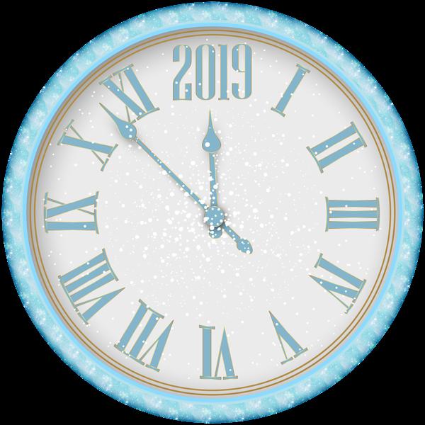 2019 New Year Snowy Clock PNG Clip Art Countdown clock