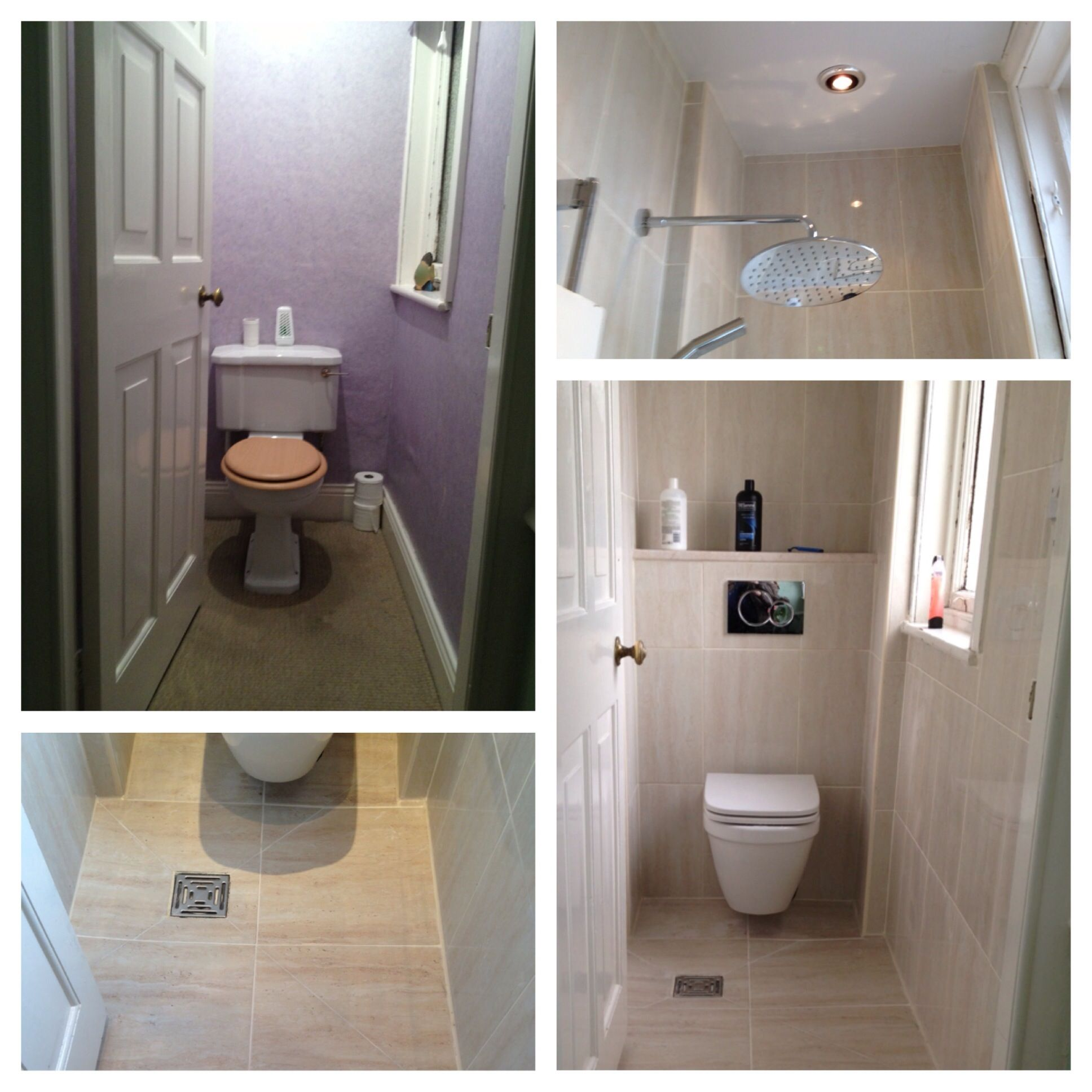 Wc Room Transformed To Wetroom With The Addition Of A Drop Head Concealed Shower Wet Room Bathroom Wet Rooms Small Shower Room