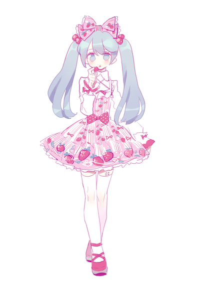 ✮ ANIME ART ✮ sweet lolita. . .strawberry print. . .dress. . .lace. . .ruffles. . .ribbons. . .head bow. . .stockings. . .twin tails. . .cute. . .kawaii