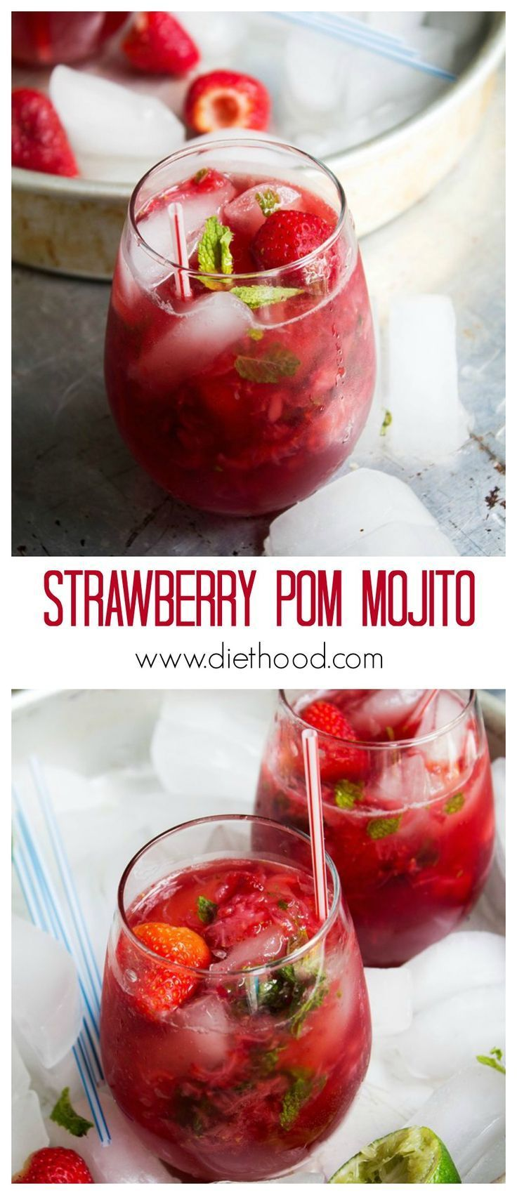 Strawberry Pom Mojito Www Diethood Com Refreshing Mojito Cocktail Made With Strawberries And Pomegranate Juice Cocktail Stra Food Recipes Summer Drinks