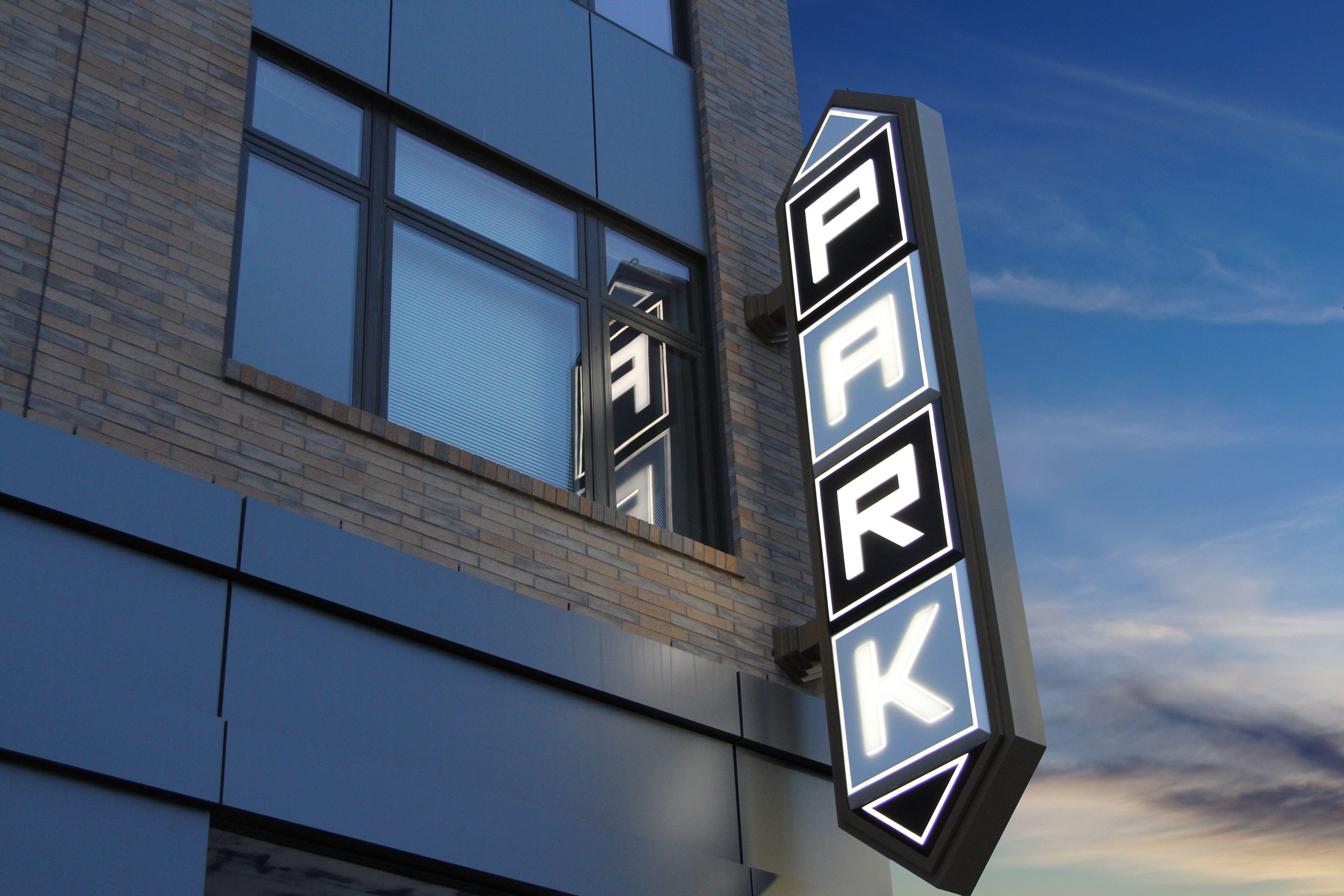 Parking Garage Sign Double Sided And Illuminated Design By Forseer Sign Park Signage Digital Signage Web Banner Design
