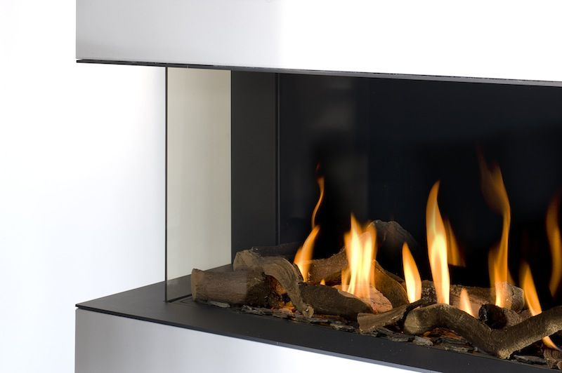 Two Sided Gas Fire Fixed Fireplace Remodel Modern