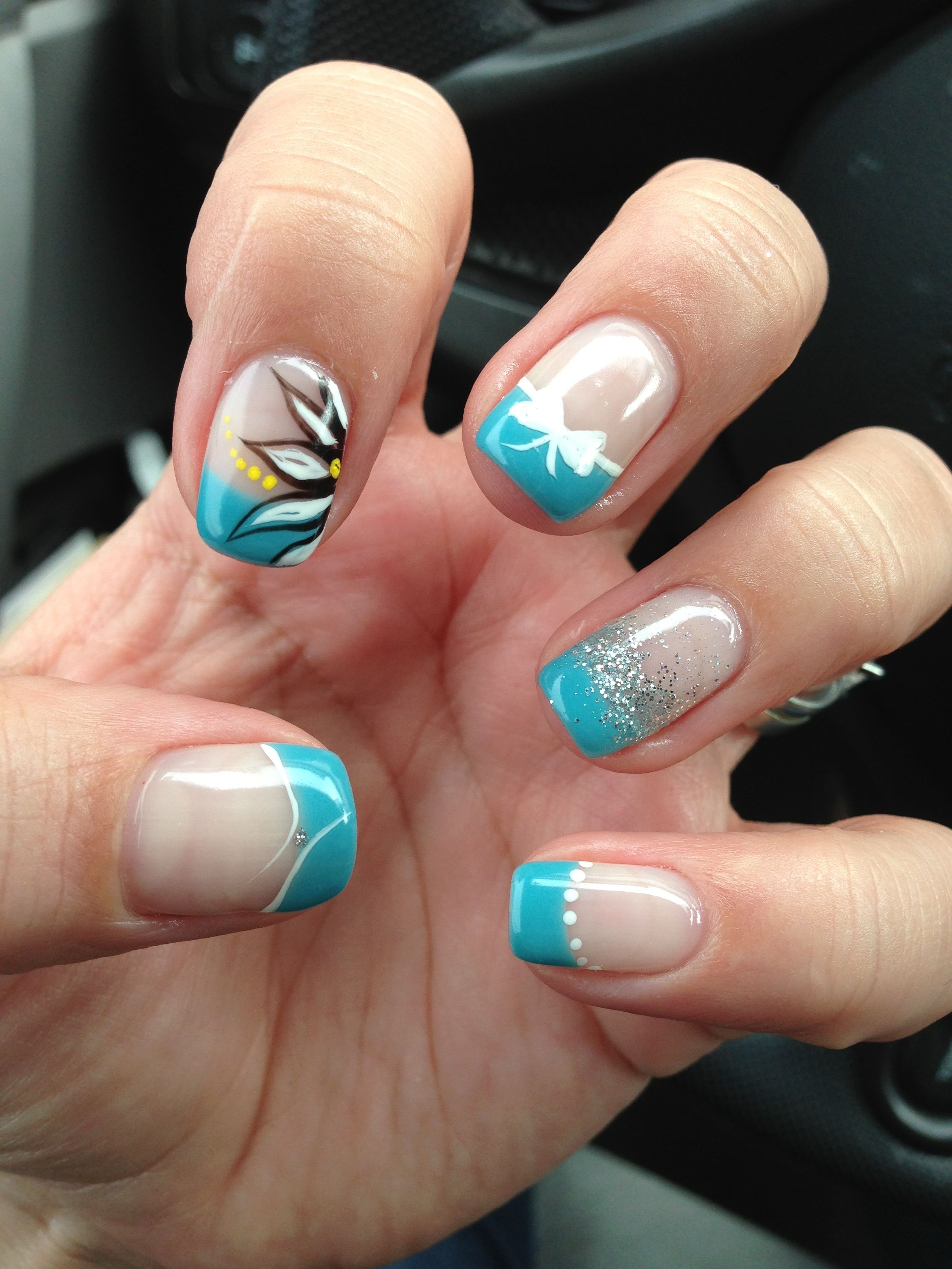 Bam! Pretty nails! Gel nail designs. Gel french tips. Bow, glitter ...