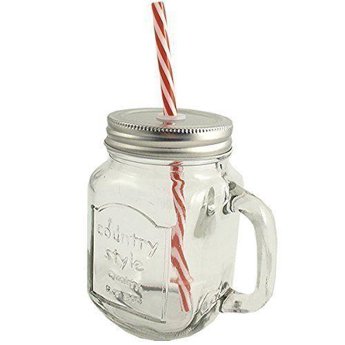 bocal en verre de style vintage mason mug avec couvercle et paille