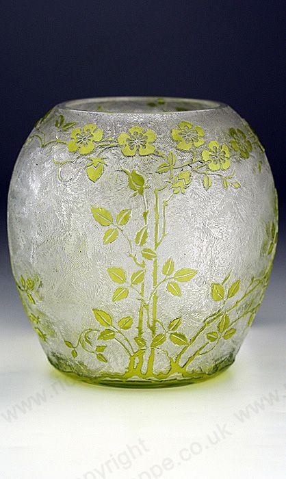 Antique C1900 Baccarat Lime Cameo Dog Rose Crystal Vase Price