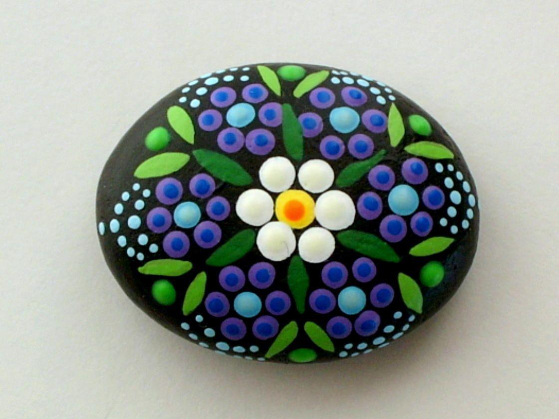 Mandala Stones Painted Rocks Blue Flower Ooak 3d Neon Dot Art Pointillism Zen Garden Yoga