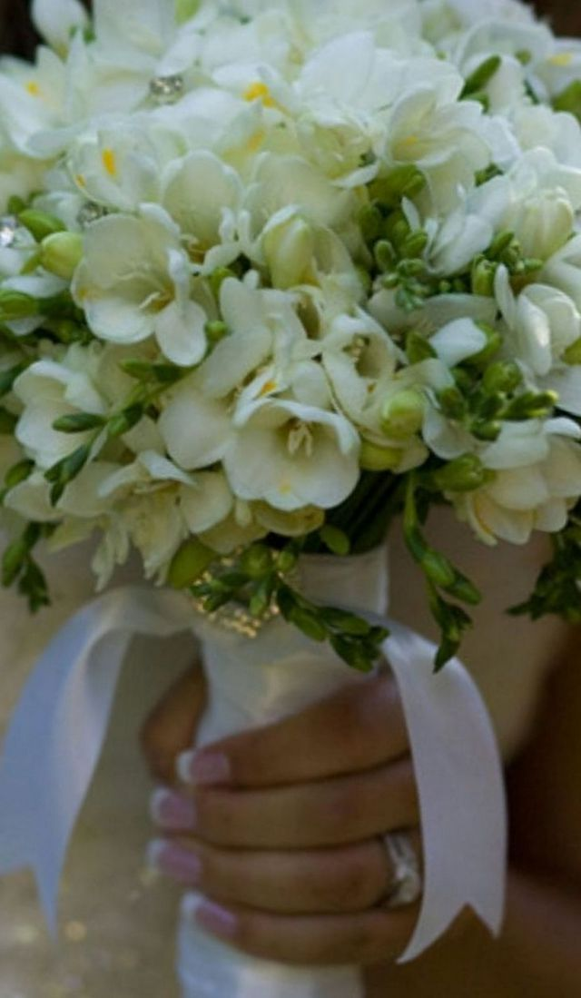 white freesia bridal bouquet