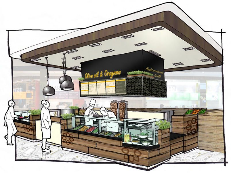 Olive oil and oregano island counter concept sketch