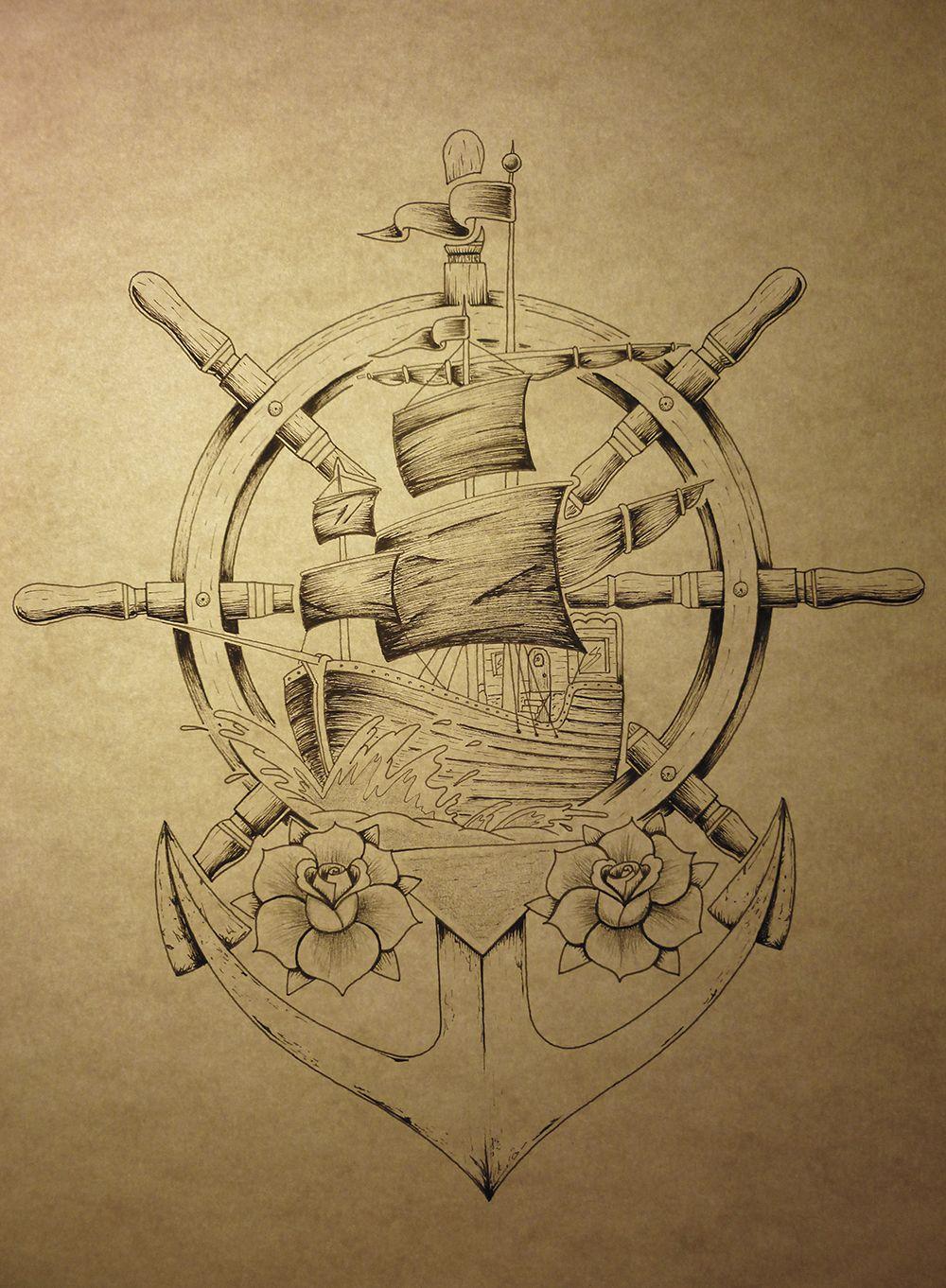 Bateau ancre roses ne pas copier ancres tatouage tatouage croquis et tatouage ancre - Dessin ancre bateau ...
