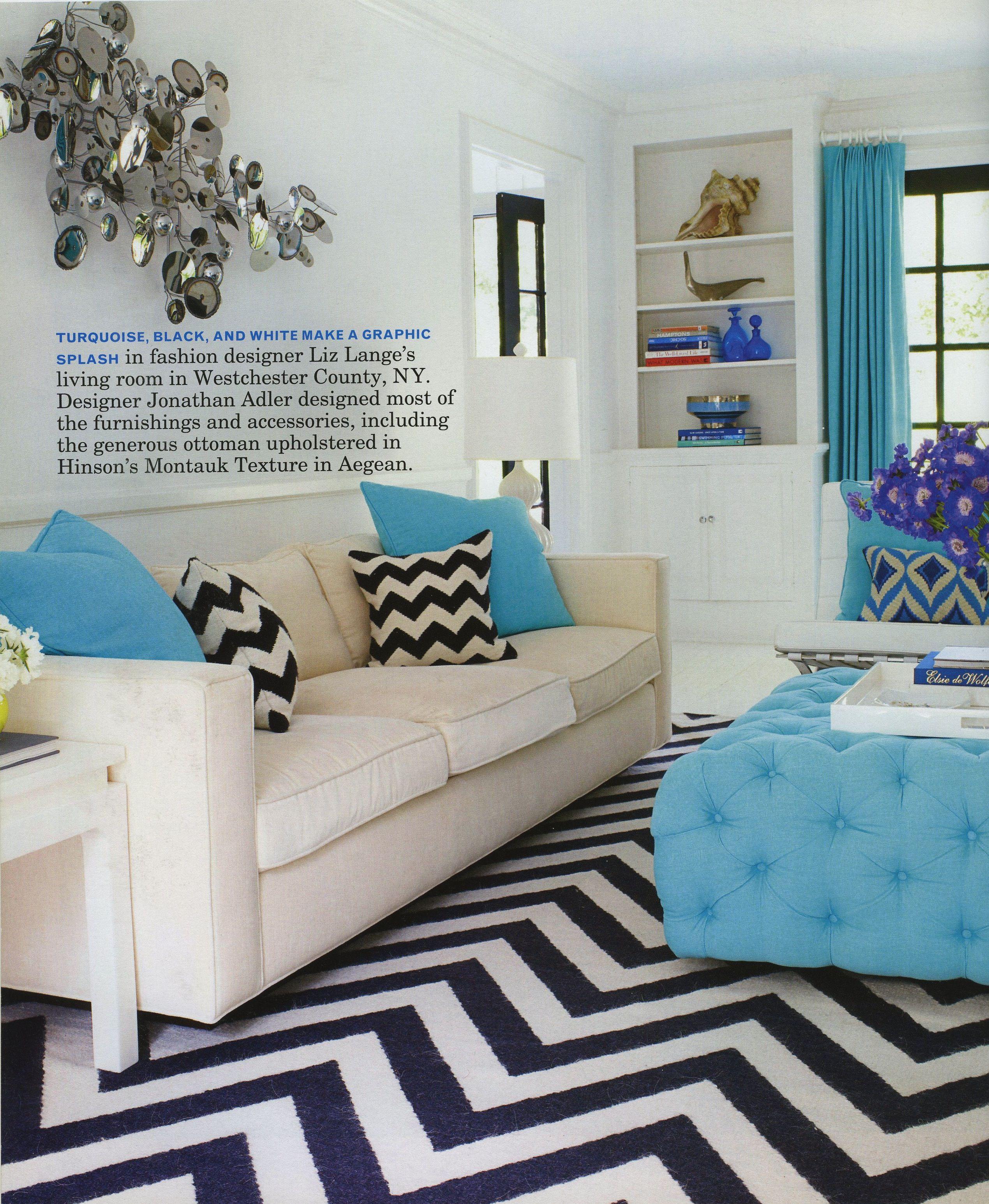 Interior Design, Black White And Turquoise Living Room Ideas