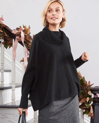 Cashmere Cropped Boxy Cowl-Neck Sweater - Garnet Hill | Fashion ...