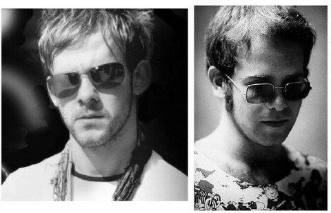 Dominic Monaghan And A Younger Elton John Mens Sunglasses Sunglasses Look Alike