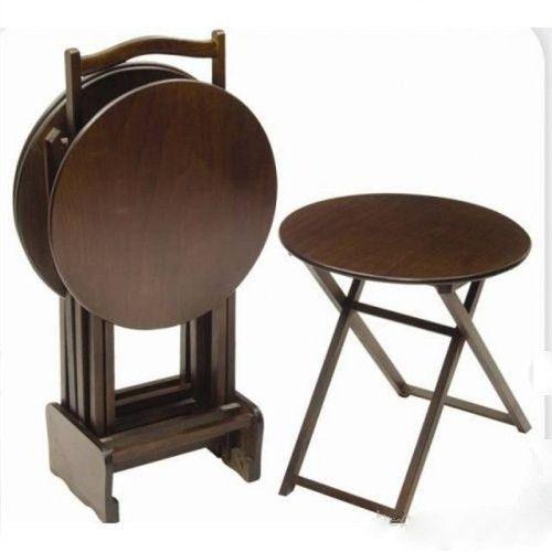 Adrasant Walnut Wood Folding Tv Tray Table Set Of 4 Round