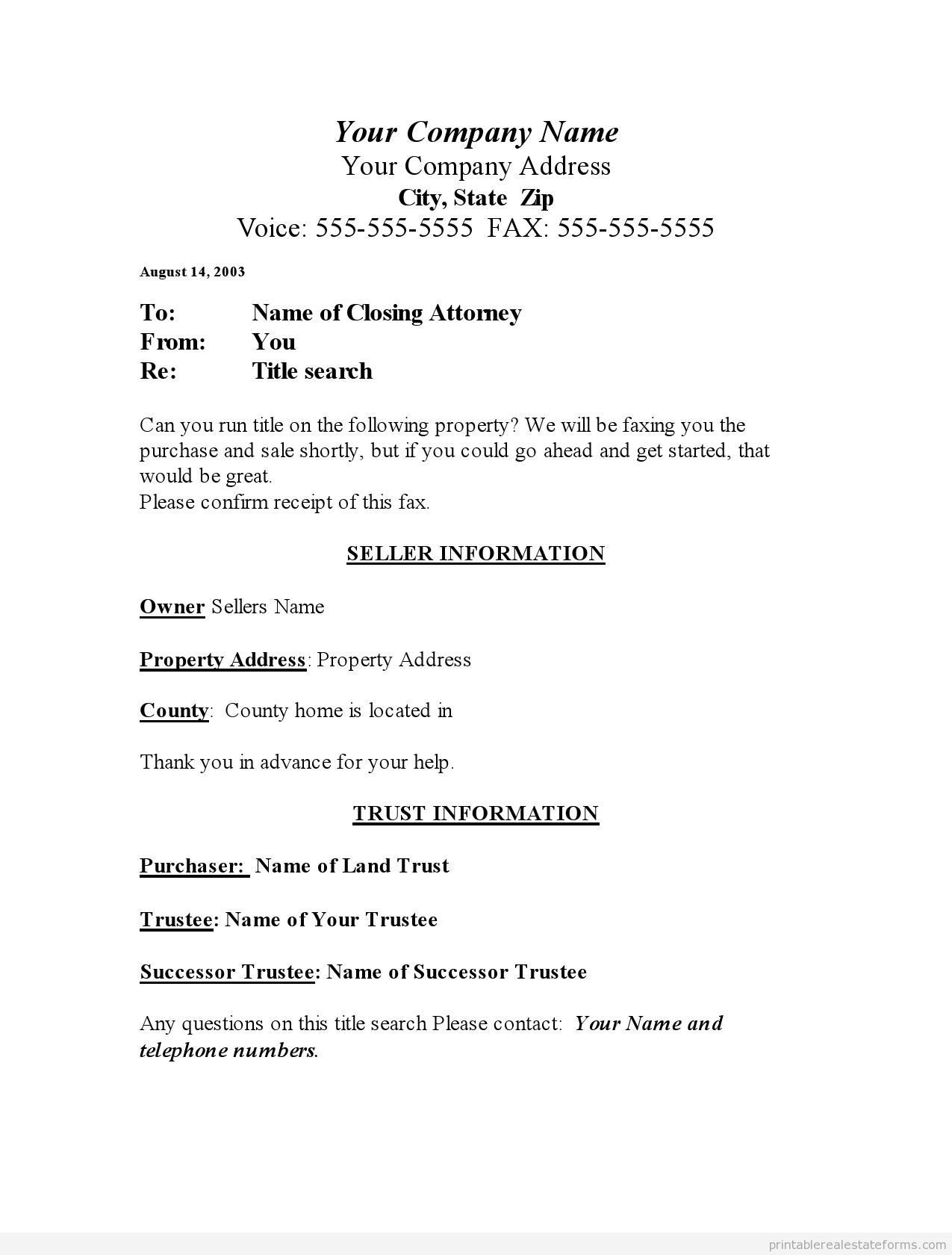 Free Title Search Form Printable Real Estate Forms Real Estate Forms Legal Forms Real Estate Templates