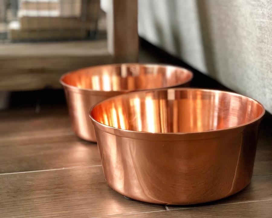 Solid Copper Dog Bowl Dog Bowls Dog Food Bowls Large Dog Bowls