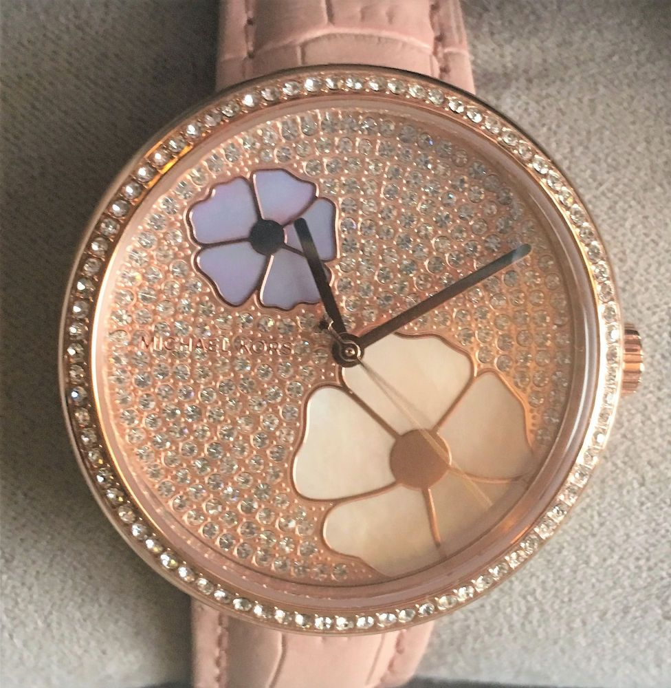 8a4fc028f0f5 Michael Kors Courtney ~ Floral Glitz Blush Leather Watch NEW ~ NIB Box  MK2718  MichaelKors  ContemporaryDesign