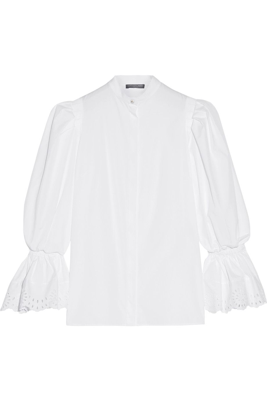 Quality Free Shipping Outlet For Sale Cheap Price Alexander Mcqueen Woman Broderie Anglaise-trimmed Cotton-poplin Blouse White Size 48 Alexander McQueen Comfortable Cheap Online Free Shipping Classic eSN49PZ