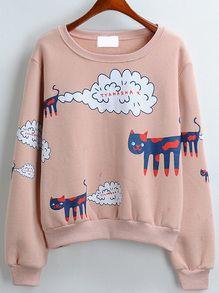 Cat Print Loose Pink Sweatshirt