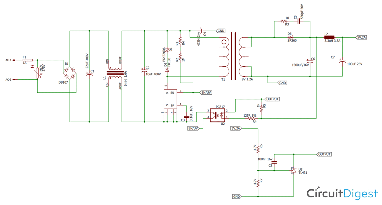 How To Design A 5v 2a Smps Power Supply Circuit Power Supply Circuit Circuit Electronics Circuit