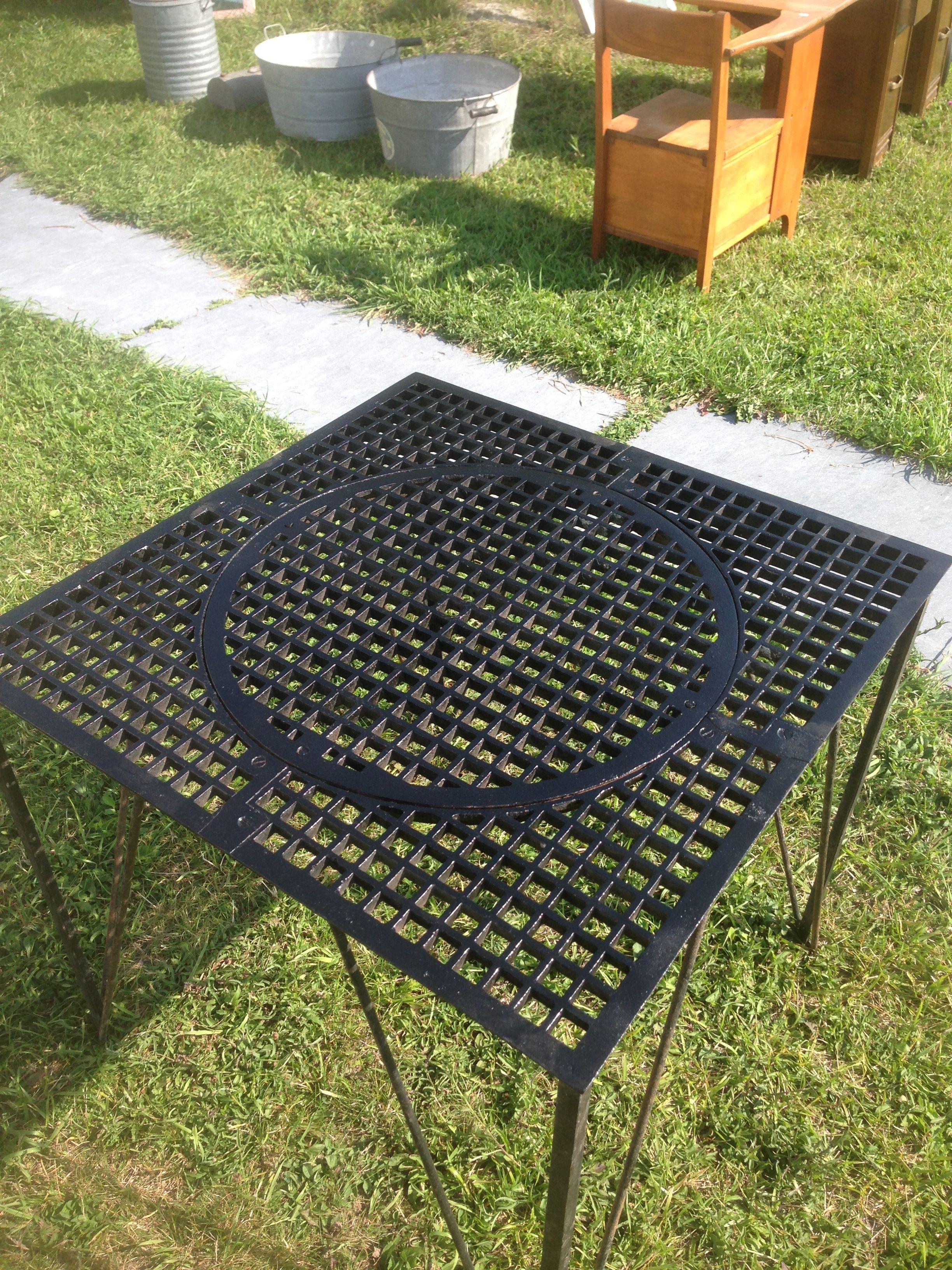 """repurposed 4"""" sq floor grate table  Antique flooring, Antiques"""