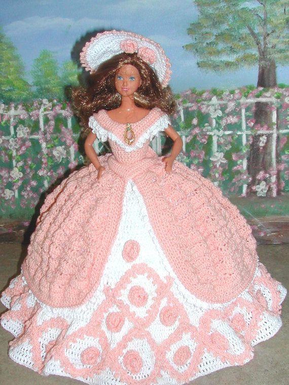 Crochet Fashion Doll Barbie Pattern- #279 BENEFIT BALL   Modepuppen ...