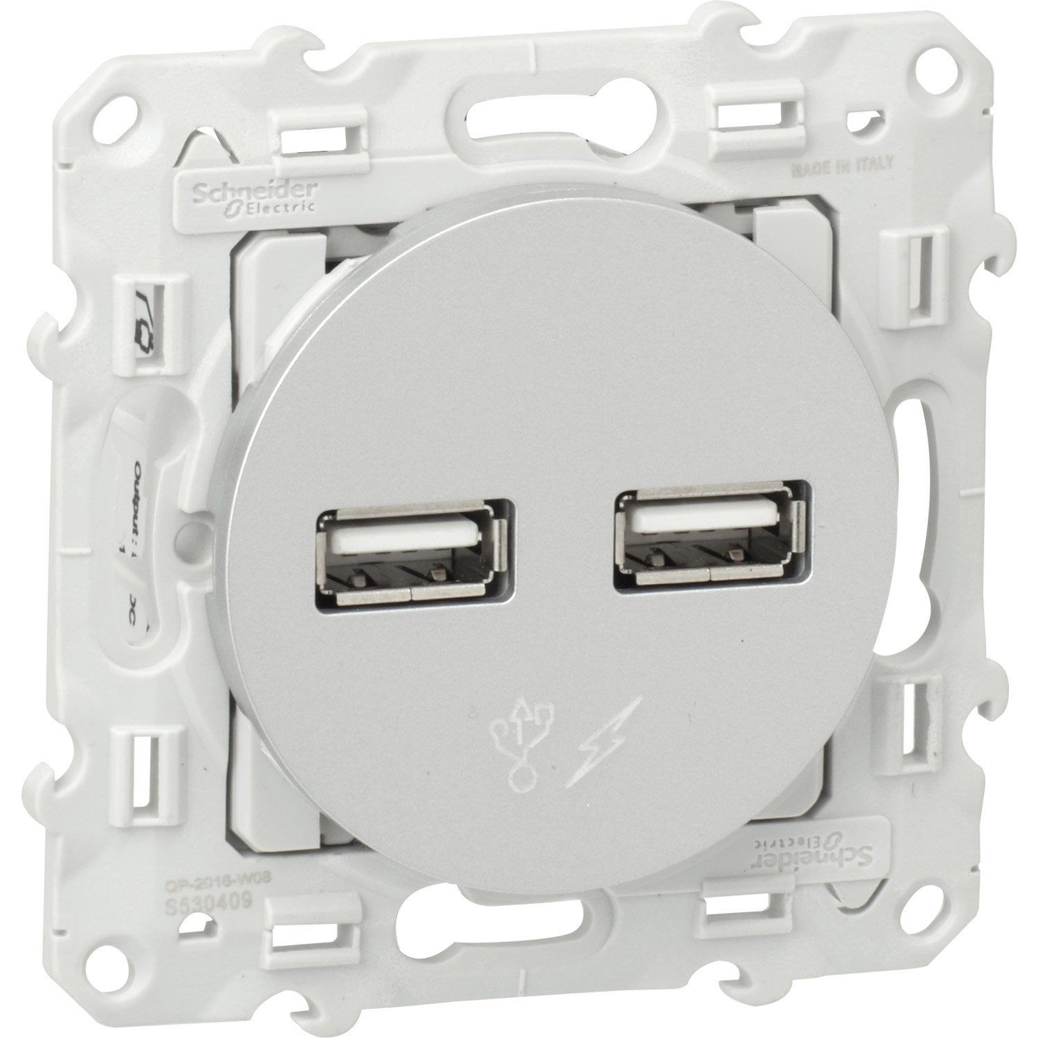 Prise Chargeur Double Usb Odace Schneider Electric Gris