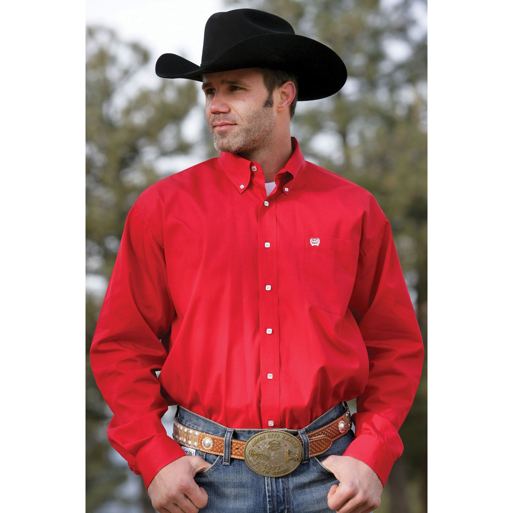 Cinch Men's Long Sleeve Solid Red Button Down Shirt   For him ...