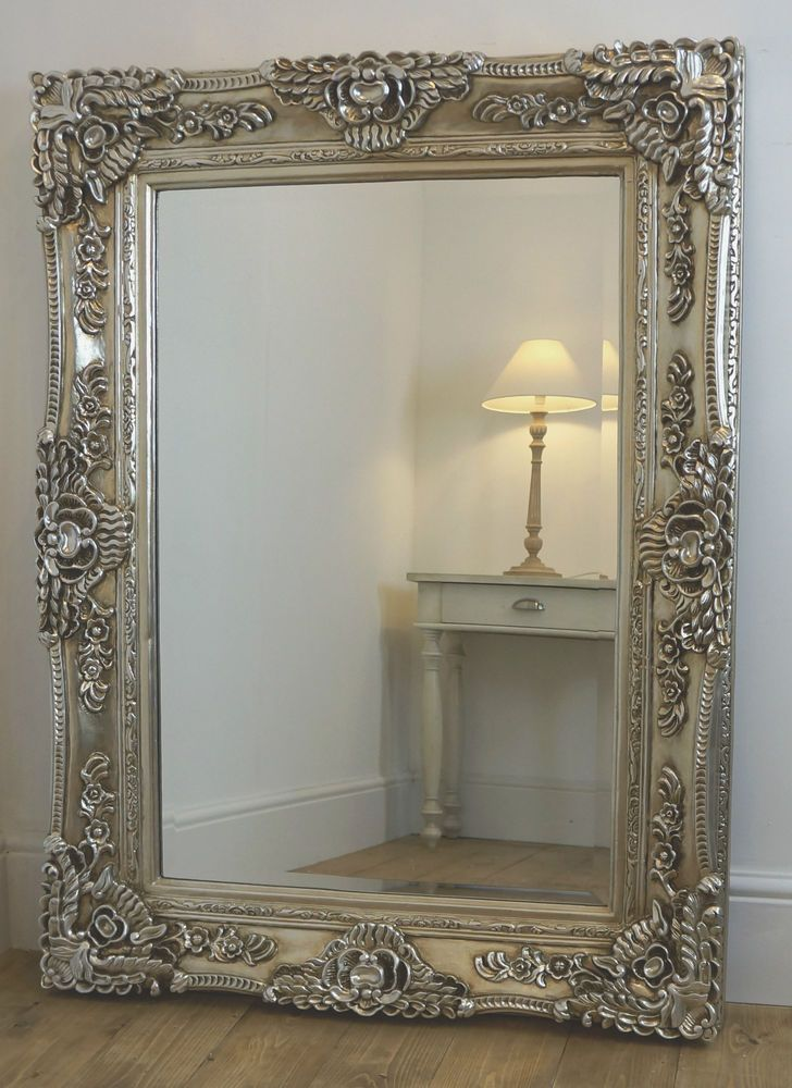 """Antique Wall Mirrors ella champagne silver ornate rectangle vintage wall mirror 47"""" x"""