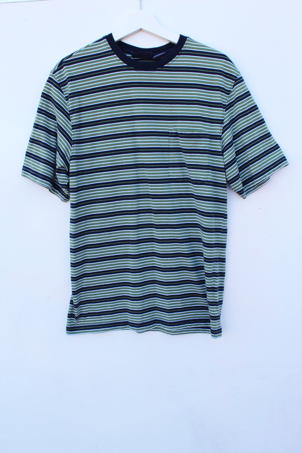 90s Striped T Shirt / Men's MEDIUM Pocket Tee / Green Navy White ...
