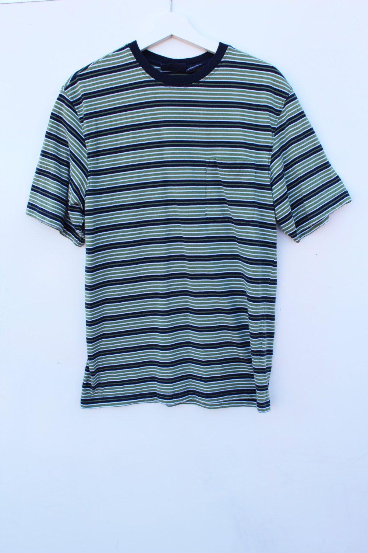 55d35e695dde60 90s Striped T Shirt / Men's MEDIUM Pocket Tee / Green Navy White / 90s  Grunge